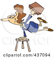 Royalty Free RF Clipart Illustration Of A Versatile Businesswoman Balancing On A Stool