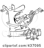 Royalty Free RF Clipart Illustration Of A Black And White Outline Design Of A Man Shoveling Dietary Supplements Into His Mouth by toonaday