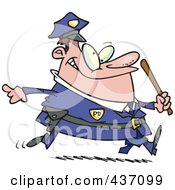 Royalty Free RF Clipart Illustration Of A Chubby Running Cop