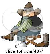 Cowboy Putting Boots On Feet Clipart