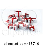 Clipart Illustration Of A Group Of Red And White Gift Boxes
