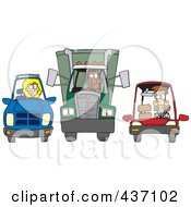 Royalty Free RF Clipart Illustration Of An SUV Big Rig And Car At A Stop Light by toonaday