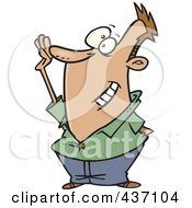 Royalty Free RF Clipart Illustration Of A Cartoon Man Raising His Hand To Volunteer