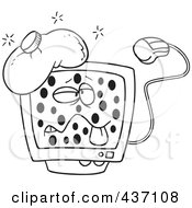 Royalty Free RF Clipart Illustration Of A Black And White Outline Design Of A Sick Speckled Computer With A Virus