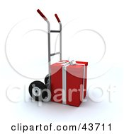 Clipart Illustration Of A Red Christmas Present Loaded On A Dolly