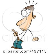 Royalty Free RF Clipart Illustration Of A Caucasian Skinny Man Tightening A Belt by toonaday