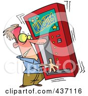 Royalty Free RF Clipart Illustration Of A Cartoon Man Shaking A Munchies Vending Machine by toonaday