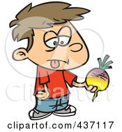 Royalty Free RF Clipart Illustration Of A Disgusted Boy Holding A Turnip by toonaday