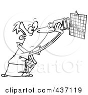 Royalty Free RF Clipart Illustration Of A Black And White Outline Design Of A Businessman Viewing A Chart With Binoculars