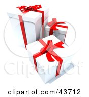 Clipart Illustration Of Three White Gift Boxes With Red Ribbons And Bows