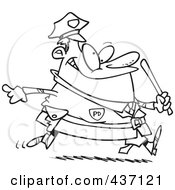 Royalty Free RF Clipart Illustration Of A Black And White Outline Design Of A Chubby Running Cop