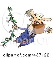 Royalty Free RF Clipart Illustration Of A Caucasian Businessman Swinging From A Vine Like Tarzan by toonaday