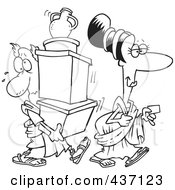 Royalty Free RF Clipart Illustration Of A Black And White Outline Design Of A Woman With A Credit Card Followed By Her Assistant Carrying Her Boxes