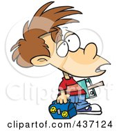 Royalty Free RF Clipart Illustration Of A Victimized Boy With Something On His Forehead