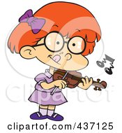 Royalty Free RF Clipart Illustration Of A Cartoon Girl Standing And Playing A Violin