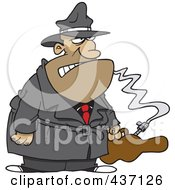 Royalty Free RF Clipart Illustration Of A Cartoon Gangster With A Gun In A Violin Case by Ron Leishman