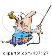 Royalty Free RF Clipart Illustration Of A Caucasian Businessman Swinging From A Rope by toonaday