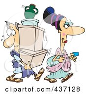 Royalty Free RF Clipart Illustration Of A Cartoon Woman With A Credit Card Followed By Her Assistant Carrying Her Boxes by toonaday