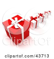 Clipart Illustration Of A Row Of Red And White Gift Boxes With The Biggest In The Front And Smallest In The Back