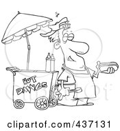 Royalty Free RF Clipart Illustration Of A Black And White Outline Design Of A Messy Hot Dog Vendor By His Cart by toonaday