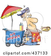 Messy Hot Dog Vendor By His Cart