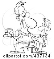 Royalty Free RF Clipart Illustration Of A Black And White Outline Design Of A Performing Man With A Ventriloquist Doll On His Lap