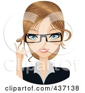 Royalty Free RF Clipart Illustration Of A Dirty Blond Female Secretary Pointing Upwards