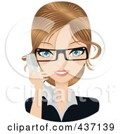 Royalty Free RF Clipart Illustration Of A Dirty Blond Female Secretary Talking On A Phone by Melisende Vector