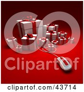 Clipart Illustration Of A Computer Mouse Extending From A Group Of White Christmas Presents With Red Bows