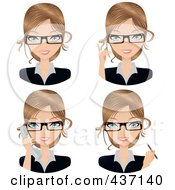Royalty Free RF Clipart Illustration Of A Digital Collage Of Dirty Blond Female Secretary Faces