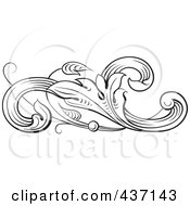 Royalty Free RF Clipart Illustration Of A Black And White Botanical Flourish Design Element 4