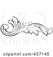 Royalty Free RF Clipart Illustration Of A Black And White Botanical Flourish Design Element 2