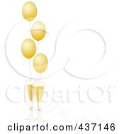 New Year Border Of Golden Party Balloons With Champagne Glasses And Ribbons