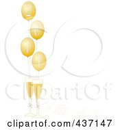 royalty free rf clipart illustration of a border of golden 2011 new year party balloons with