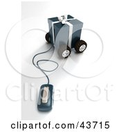Clipart Illustration Of A Computer Mouse Wired To A Wheeled Dark Blue Christmas Present
