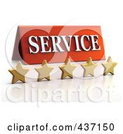 Royalty Free RF Clipart Illustration Of A 3d Service Plaque With Five Golden Stars 1