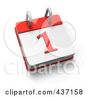 Royalty Free RF Clipart Illustration Of A 3d 1 Desktop Calendar