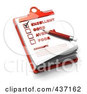 Royalty Free RF Clipart Illustration Of A 3d Rating Check List On A Red Clipboard 2
