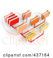 Royalty Free RF Clipart Illustration Of A 3d File Sharing Network Of Red Orange And Yellow Folders