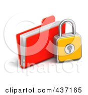 Royalty Free RF Clipart Illustration Of A 3d Padlock With A File Folder by Tonis Pan
