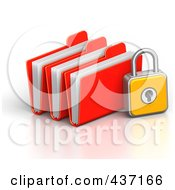 Royalty Free RF Clipart Illustration Of A 3d Padlock With File Folders