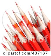 3d Red Sharp Pencils Pointed Upwards