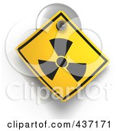 Royalty Free RF Clipart Illustration Of A 3d Radioactive Warning Sign On A Suction Cup