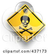 Royalty Free RF Clipart Illustration Of A 3d Poison Warning Sign On A Suction Cup