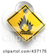 3d Flammable Warning Sign On A Suction Cup