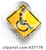 3d Handicap Warning Sign On A Suction Cup