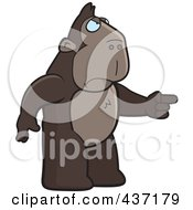 Royalty Free RF Clipart Illustration Of An Angry Ape Standing And Pointing His Finger To The Right by Cory Thoman