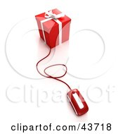 Clipart Illustration Of A Computer Mouse Connected To A Red Christmas Gift