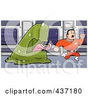 Royalty Free RF Clipart Illustration Of A Transparent Green Alien Chasing An Astronaut by Cory Thoman
