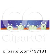 Royalty Free RF Clipart Illustration Of A Website Banner Of Four Happy Green Aliens by Cory Thoman